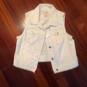 Chico's Platinum white denim vest w/ sequins